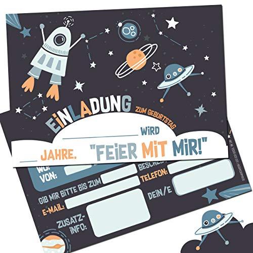 bigdaygraphix Astronaut Einladungskarten (12er Set) zum Kindergeburtstag Karten Kinder Geburtstag-Einladungen Postkarten Feier Jungen Mädchen Weltraum UFO Rakete