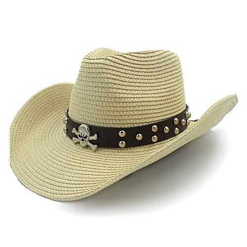 Sombrero para el sol Diseño de remache Sombrero para el sol Sombrero de rafia Señoras del verano Sombrero de mezclilla Cinturón de cuero de los hombres Calavera Pirata Aleación Ritmo decorativo Ala an
