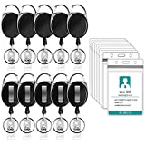 Puroma 10 Pack Heavy Duty Retractable Badge Reel with Waterproof Vertical ID Card Holders and Key Ring for Card Keychain Badge Holder