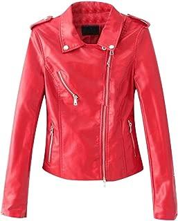JUNMAONO Chaqueta de Cuero PU para Mujer Leather Biker Chaqueta para Mujer PU Biker Jacket Chaqueta con Bolsillos con Cremallera Chaqueta Corta para el Oto/ño Primavera Sint/ético Biker Chaqueta