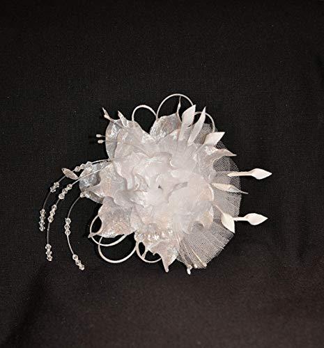 Fascinator Braut Haarschmuck Organza Blume Tüll Glasperlen Kristall Weiß Ivory