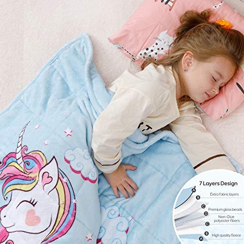 Anjee Kinder Fleece gewichtete Decke 3KG, Einhorndecke für Kinder mit 2 Farboptionen, ultraweiche und kuschelige schwere Decke, ideal zum Beruhigen und Schlafen 100 x 150 cm Blau
