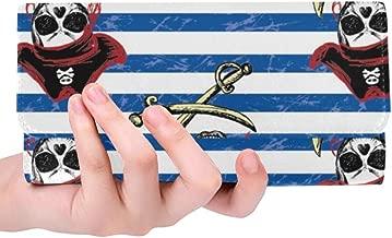 Unique Custom Pirates Hand Drawing Women Trifold Wallet Long Purse Credit Card Holder Case Handbag