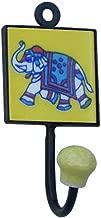 Indianshelf Handmade 1 Artistic Vintage Multicolor Ceramic Elephant Wall Hooks Hangers/Key Hooks for Clothes