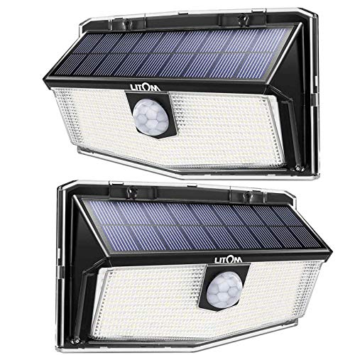 300 LED Solar Lights Outdoor, LITOM Solar Motion Sensor Security Lights with 270° Wide Angle, 3 Intelligent Lighting Mode,Easy to Install, Waterproof Durable Solar Powered Lights Wall Lights (2 Pack)