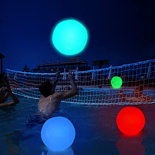 """2 Pcs Glow Pool Toys Games Inflatable Ball 16"""" with 4 Led Lights Waterproof Volleyball Accessories Gift Kids Age 3-8 8-10 10-13 Family Adult Teen Party Favor Beach Ball Toy Outdoor Garden Decoration"""