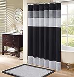 Comfort Spaces Windsor Bathroom Shower Pieced Ruffle Pattern Modern Elegant Microfiber Fabric Bath Curtains, 72'x72', Black