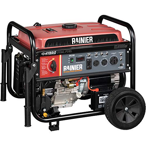 Rainier R12000DF Dual Fuel (Gas and Propane) Portable Generator with Electric Start - 12000 Peak...