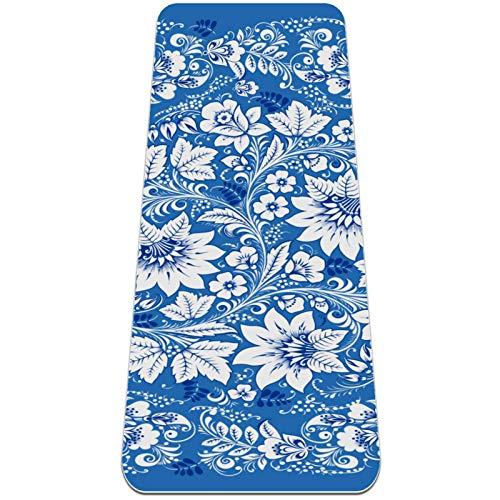 Xingruyun Tappetino Yoga Fiore Blu Tappetino da Ginnastica Spessore 6mm Tappetino per Esercizi TPE Protezione Ambientale Stampa Antiscivolo Tappetino Fitness Pilates 183x61cmx0.6cm