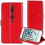 TienJueShi Rot Premium Retro Business Flip Book Stand Brief Leder Tasche Für Lenovo Phab 2 Pro 6.4 inch Schutz Hülle Handy Hülle Abdeckung Wallet Cover Etüi Skin