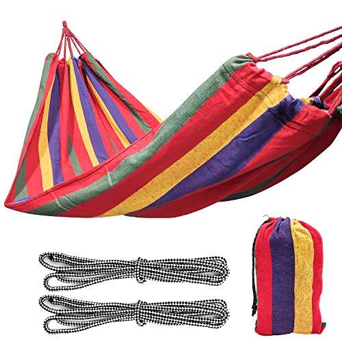 YLX Hängematte, Camping Hängematte 190x100cm, 300kg Tragkraft, Camping Garten Balkon Hängematte für Draußen Drinnen Garten