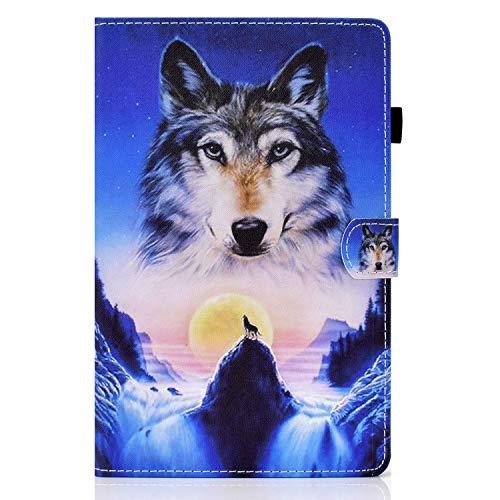 YKTO Cute Tablette Hülle für Samsung Tab A7 10.4 (2020),Brieftasche Flip mit Cartoon Muster,Klappbare Ständer Funktion,Colorful Painted Stil Schutzhülle für Samsung Galaxy Tab A7 10.4 (2020),Wolf