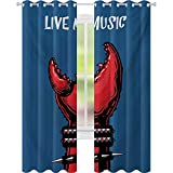 Cortinas con aislamiento térmico, garra de cangrejo con muñequeras de punta Heavy Rock Live Music Inscription Art, W52 x L84 Panel de cortina de ventana para cuarto de niños, azul rojo y negro