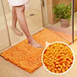 Orange Bath Rugs Bathroom Mats and Rugs Non Slip Ultra Soft Chenille Rug/Bathmat/Toilet Mat/Toilet Rug/Shower Rug Washable Rug Super Absorbent Throw Rug 19.7 x 31.5 Inch