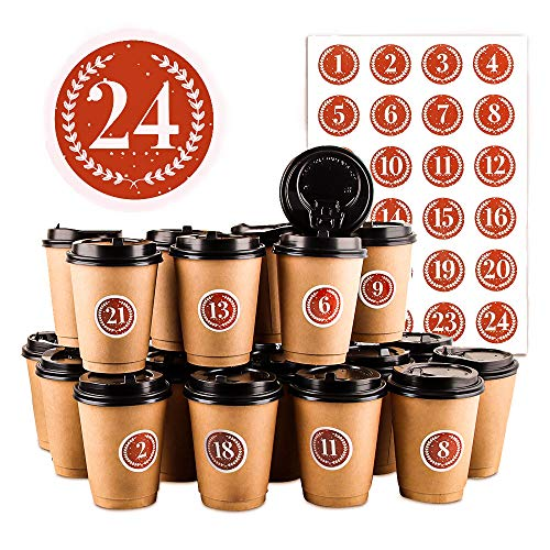 Adventskalender DIY Set, 24 DIY Adventskalender Kaffee-Becher, Adventskalender Zum Befüllen und Basteln, Hochwertige Recycelbare Kaffeetassen mit Deckel, 24 Weihnachtsnummernaufkleber (Rote Zahlen)