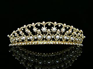 Bridal Wedding Beauty Pageant Rhinetone Crystal Tiara Crown - Faux Pearls Gold Plating