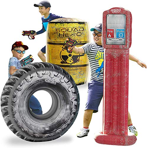 Combat Arena Inflatable Battle Obstacles Set - Compatible with Nerf, Laser Tag, Dart Guns, and Water Gun Games - Large Tire, Barrel, Call Box - Sports Gift for Kids and Teens - Nerf Party Accessories
