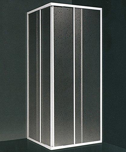 Hoek-douchecabine, afmetingen: 90 x 90 cm, in te korten van 78 cm tot 88 cm.