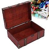 Joyería decorativa cofre del tesoro, caja vintage de madera con candado, caja de almacenamiento para joyas, collares, pendientes, almacenamiento (rojo)