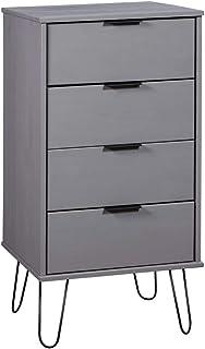 SKM Armoire à tiroir Gris 45x39,5x90,3 cm Bois de pin Solide