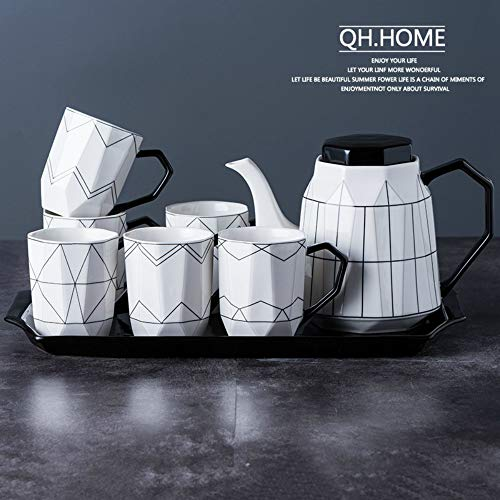 MSNLY Frische und stilvolle Keramik Wassertopf Set Haushalt Kaltwassertopf Set Wohnzimmer Teekanne hitzebeständige große Teekanne