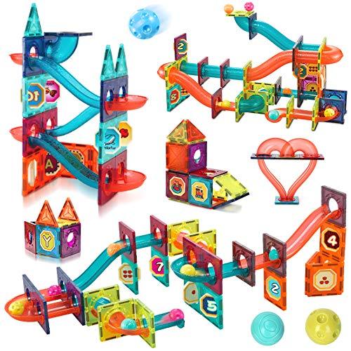BeebeeRun マグネットブロック スロープおもちゃ マグネットおもちゃ 磁石ブロック マグネットタイルとくみくみスロープ 子供向け 磁気おもちゃ コロコロ転がるカラフルスロープ 知育玩具 立体パズル 積み木 学習ステッカー付き 男の子 女の子 誕生日
