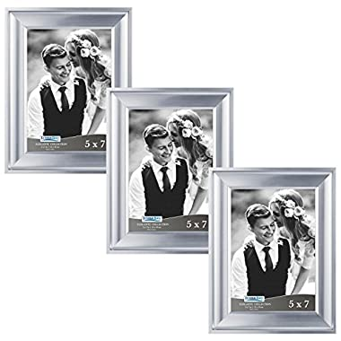 Icona Bay 5 by 7 Picture Frames (5x7, 3 Pack, Silver) Photo Frames, Wall Mount Hangers and Black Velvet Back, Table Top Easel, Landscape as 7x5 Picture Frames or Portrait as 5x7, Elegante Collection