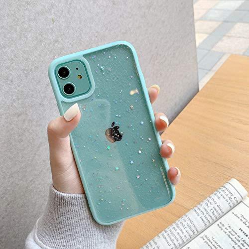 WGOUT Estuche para teléfono Star Glitter para iPhone 11 Pro MAX Back Love Heart TPU Cover para Iphone12 Pro Xsmax XR 7 6 8 Plus Mini, Azul Cielo, para iPhone 6plus