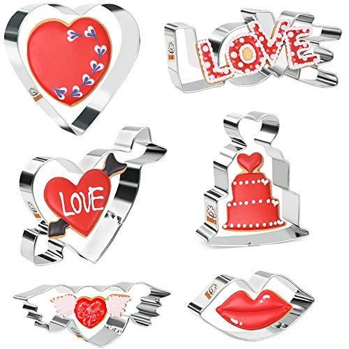 Iindes Set de cortador de galletas de San Valentín Cortadores de galletas con forma de corazón 6 piezas