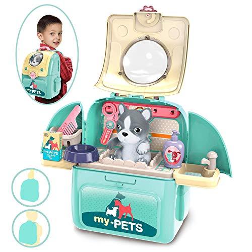 Dreamon Maletin Veterinario Juguete Niños Juguetes Educativo Mascotas Juego de rol con Mochila Medico Juguete para 3 4 5 años