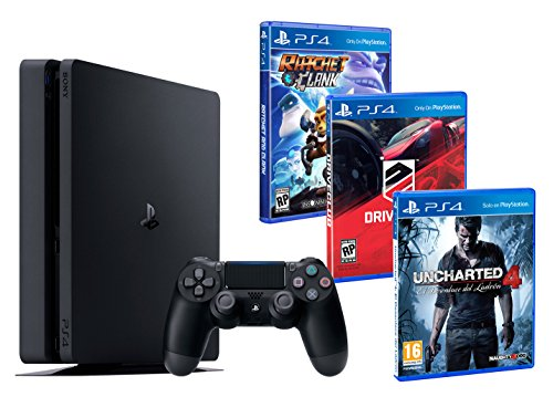 PS4 Slim 1To + 3 Jeux - Ratchet & Clank, Uncharted 4, Driveclub