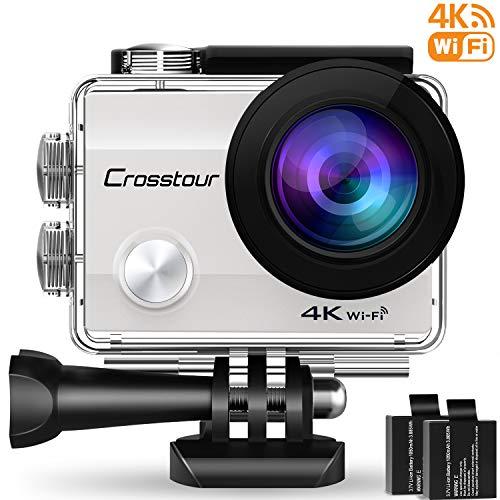 Crosstour Action Cam 4K WiFi Ultra HD Impermeabile Camera Subacquea 2 Pollici LCD 170°Grandangolare 2 Batterie Ricaricabili 1050 mAh e Kit Accessori(Argento)