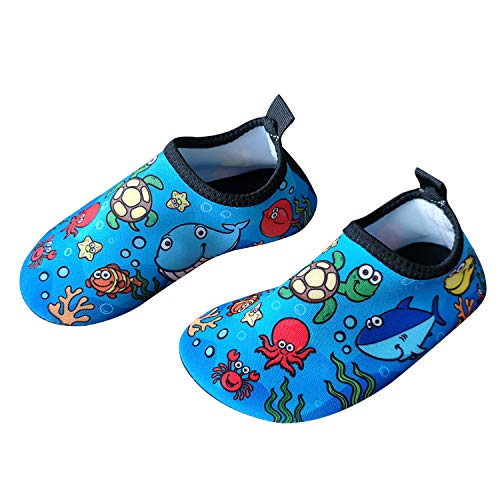 Bigib Toddler Kids Swim Water Shoes Quick Dry Non-Slip Water Skin Barefoot Sports Shoes Aqua Socks for Boys Girls Toddler (7 Toddler, Seaworld-Turtle)