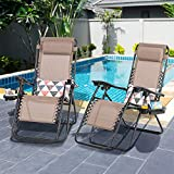 Shintenchi Patio Zero Gravity Recliner Lounge Chair, Outdoor Folding Beach Chair Recliner, Lawn Adjustable Long Chair w/ Cup Holder and Headrest, Set of 2 for Yard Garden Deck Poolside Camp, Brown
