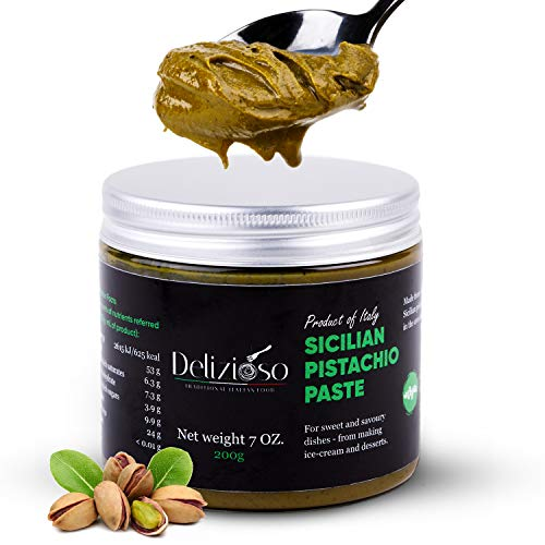 Delizioso Pistachio Paste – Premium Sicilian Pistachio Nuts – Intense Flavor and Strong Taste – Creamy Italian Pistachio Paste for Baking, Desserts, Gelato – Vegan Kosher Formula - 7 oz