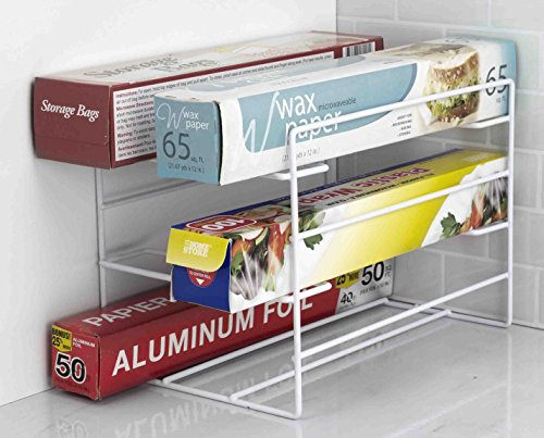 Home Basics 3 Tier Heavy Duty Kitchen Countertop or Cabinet Wrap Organizer for Food Wrap Foil Wax Parchment Paper Plastic Bags White Finish