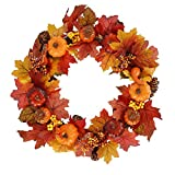 Ghopy 18Inch Autumn Simulation Pumpkin Wreath 45cm Maple Leaf Pumpkin Wreath Fall Decorations Indoor for Home Door Wall Ornaments Christmas Thanksgiving Halloween Hanging Decoration (Style A)