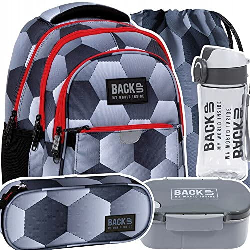 Mochila escolar, mochila para el gimnasio, botella y balón de fútbol