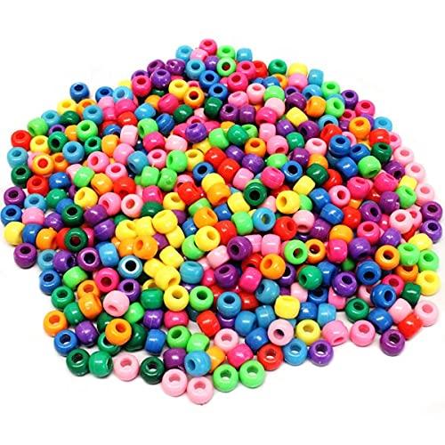 Gaboricy Perline Colorate 1000 Pc 9mm Perline Braccialetti Perline Multicolore Bambini Perline Bigiotteria Fai Da Te Perline Per Phone Bead Perline di Plastica