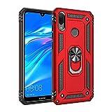 Funda de protección híbrida de doble capa a prueba de golpes con soporte de anillo giratorio de metal de 360 grados para Huawei Y7 2019/Y7 Prime 2019 (color rojo)