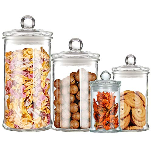Maredash Glass Apothecary Jars,Bathroom Storage Organizer with lids - Glass canisters Jar Cotton Ball Holder Set of 4