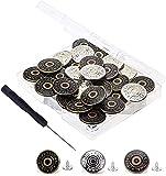 30 Bottoni Jeans, Bottoni Jeans Regolabili di Ricambio Nessun Bottone Istantaneo Instant Buttons in Metallo Bottoni (17mm)