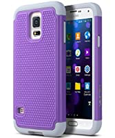 ULAK Galaxy S5 Case, Samsung Galaxy S5 Case Purple, Knox Armor Slim Hybrid Shockproof Silicone Rugged Hard Plastic Case Protective Cover Shell For Samsung Galaxy S5 S V I9600 2014 Release -Purple/Grey