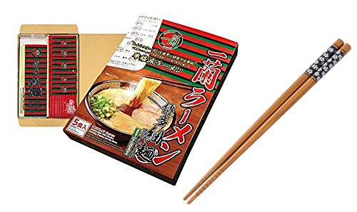 Japanese Popular Classic Tonkotsu Ramen ''ICHIRAN'' by M-Japan, Instant Straight Ramen Noodles 5 Servings with M-Japan Original Cherry Blossoms ''Sakura'' Chopsticks (Japan Import)