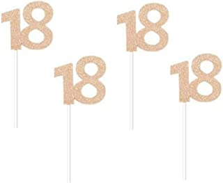 """Glitter Rose Gold 18th Birthday Party Cupcake Toppers. 24 Pack Number 18"""" Cupcake Toppers"""