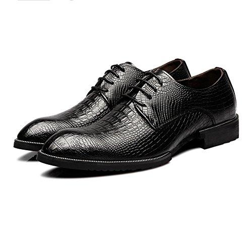 Sunny&Baby Männer echtes Leder Schuhe Krokodilleder Textur oberen Lace Up Breathable Business ausgekleidet Oxfords Abriebfeste (Color : Schwarz, Größe : 39 EU)