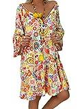 Shallood Vestido de Estampado Floral Boho con Cuello en V Sexy para Mujer Vestido de Fiesta Corto de Noche de Otoño Vintage en la Playa Verano A Amarillo ES 36
