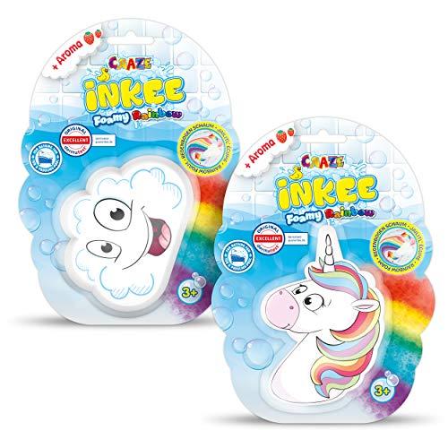 CRAZE INKEE Foamy Rainbow 2er Set Regenbogen Badebombe Kinder Schaumbad Wolke und Einhorn, Erdbeer-Duft, 31209