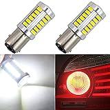 1157 LED Ampoule Feu De Frein BAY15D P21 / 5W De Voiture De Secours Feu De Stationnement Arrière Feu arrière Feu arrière avec Projecteur 5630 Puce 33 SMD 12V 6.6W 800 Lumens 6500K Blanc (pack de 2)