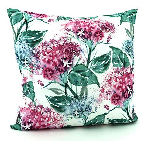 heimtexland ® Outdoor Kissen Lotus Effekt Gartenkissen schmutz- und wassabweisend Kissenhülle 40x40 Aquarell Blumen Lila Typ640